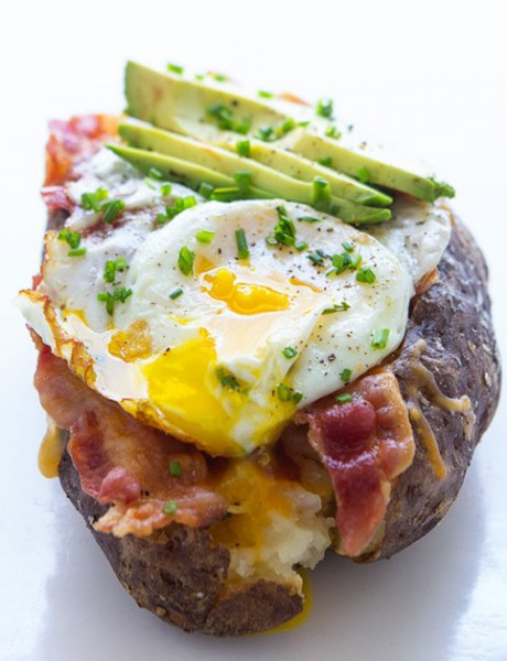 Baked Potato Ship With Eggs And Avocado