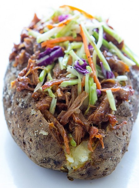 Baked Potato Ship With Pork And Vegetables