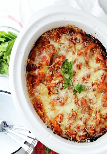 Spinach And Cow Cheese Lasagna Prepared In Slow Cooker