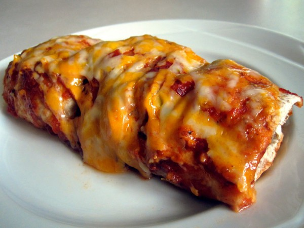 chicken-and-red-bean-enchilada in a dish