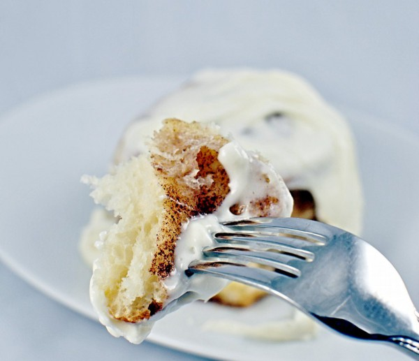 Cinnamon rolls with Whipped Cream Cheese Frosting single piece served