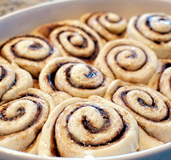Cinnamon rolls with Whipped Cream Cheese Frosting top view