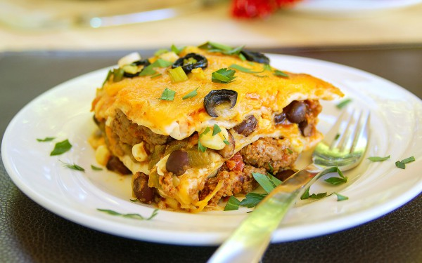 mexican-lasagna-with beef and beans