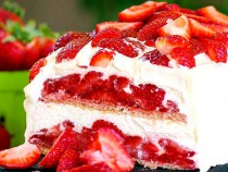 strawberry shortcake no-bake cake